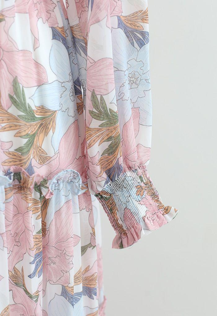 ピンクリリー花柄シフォンマキシワンピース