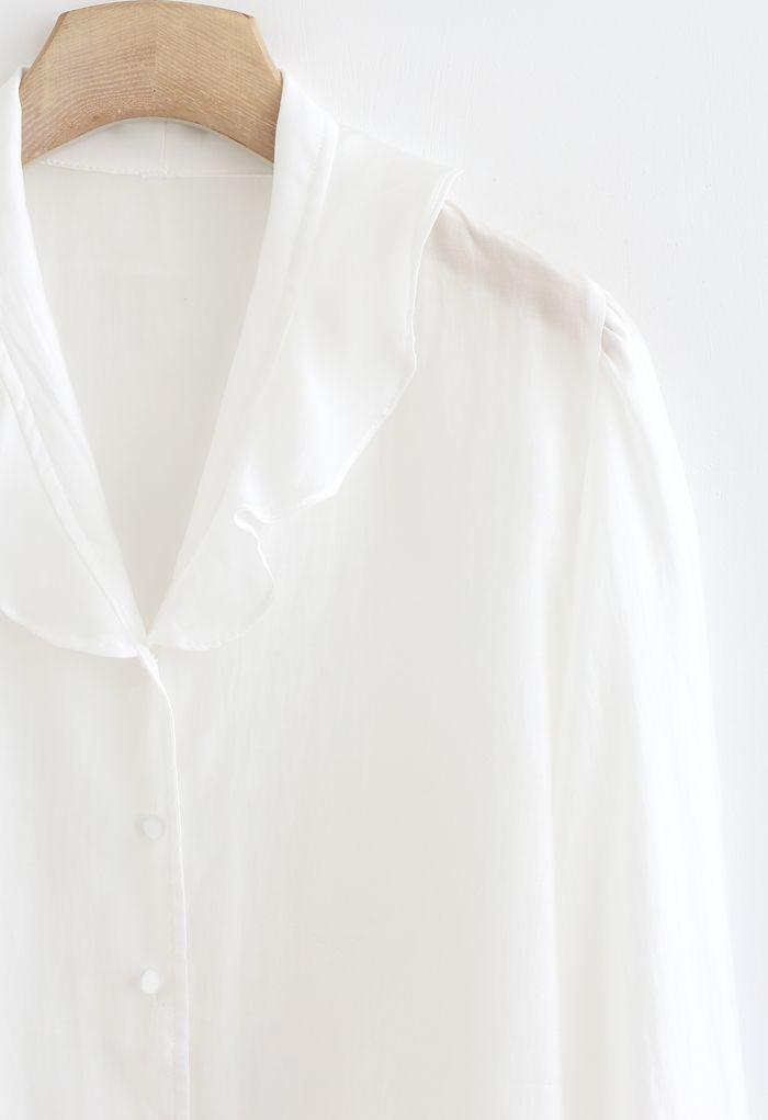 フリルボタンダウンシャツ ホワイト