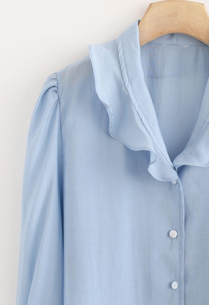 フリルボタンダウンシャツ ブルー