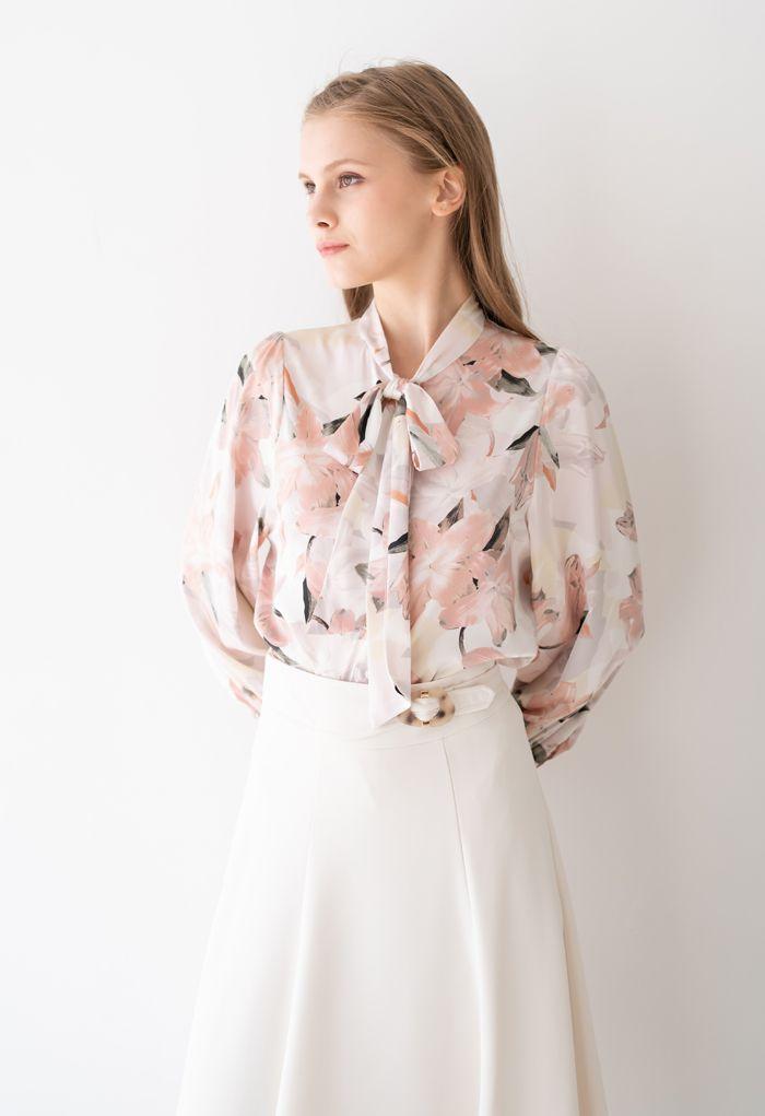 ピンクユリ花水彩ボウノットシャツ