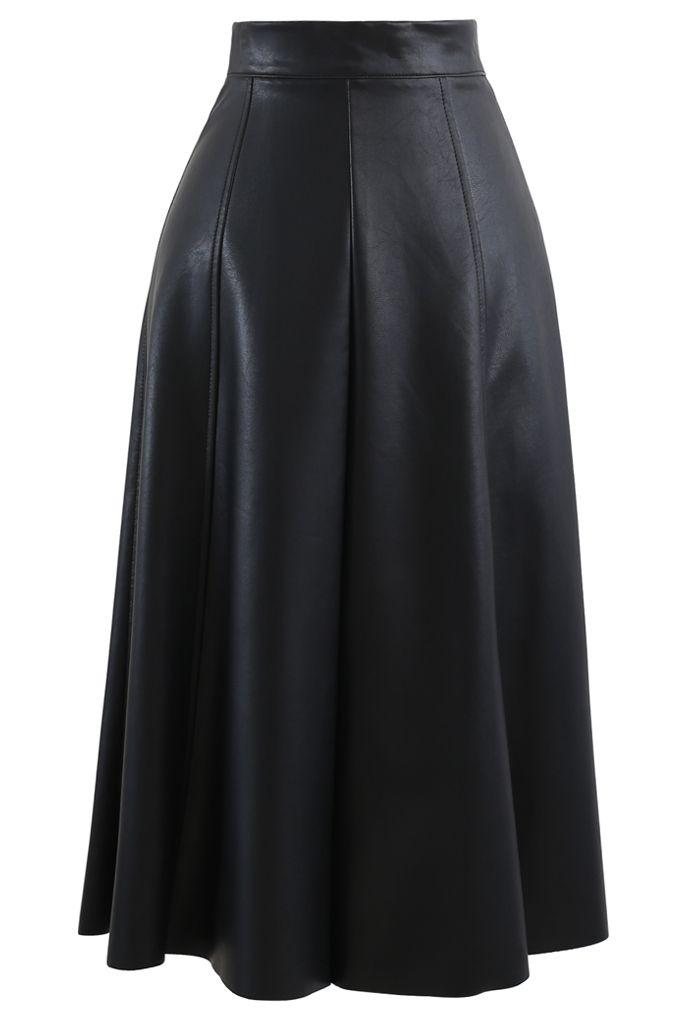 フェイクレザーシームAラインスカート ブラック