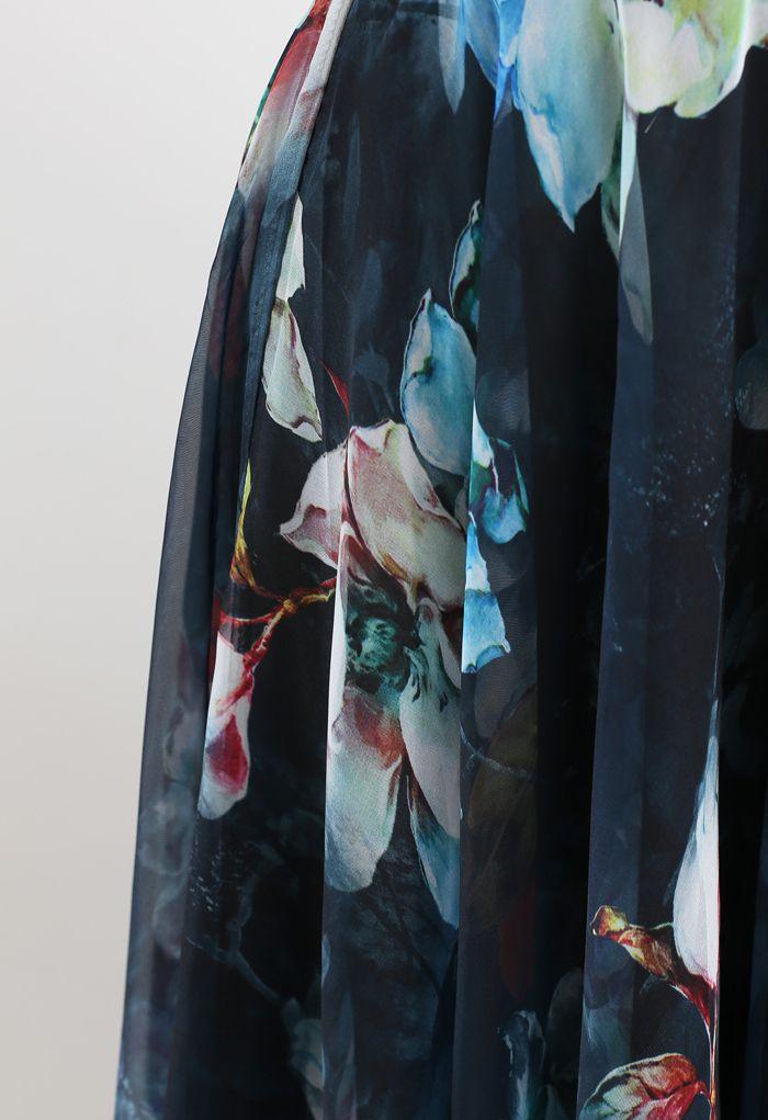花柄シフォンマキシスカート