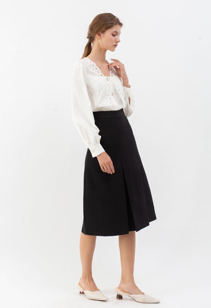 プリーツ裾スプリットミディスカート ブラック