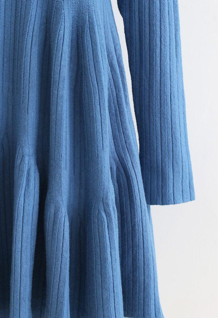 フリル裾ラウンドネックニットワンピース ブルー