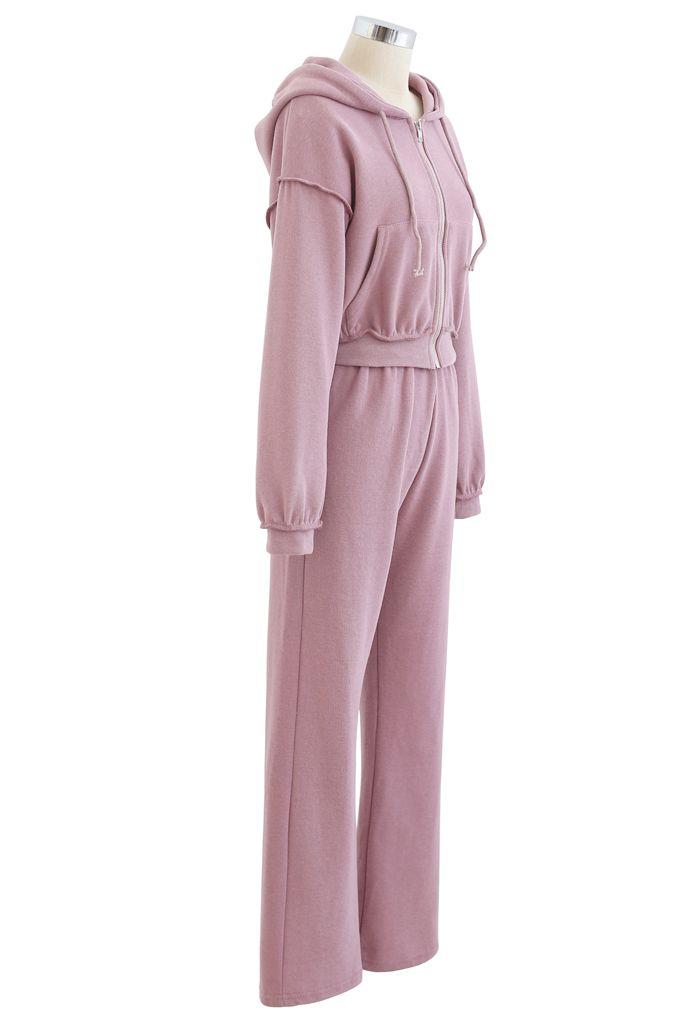 Crop Rib Zipper Hoodie and Straight Leg Pants Set in Lilac