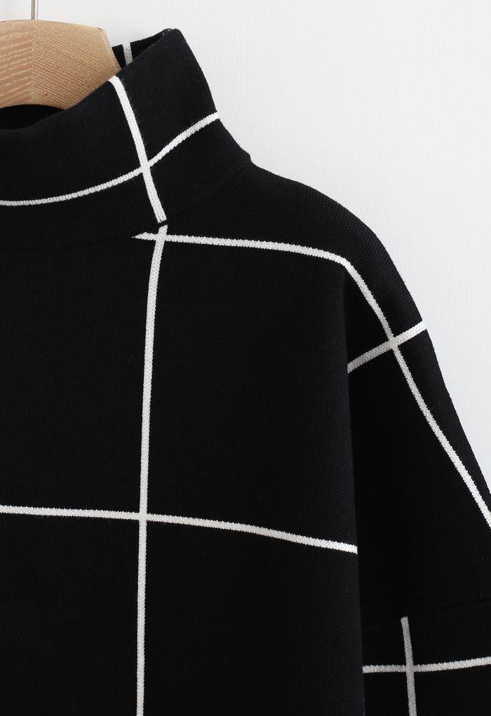 グリッドタートルネックセーター ブラック