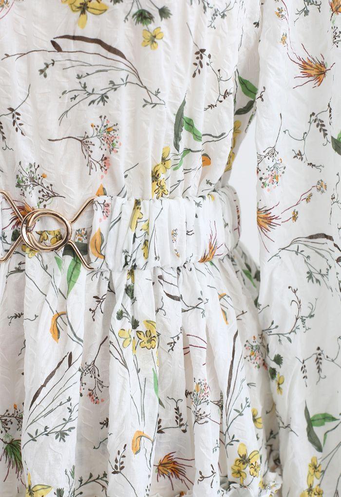 ワイルド花柄テクスチャコットンワンピース