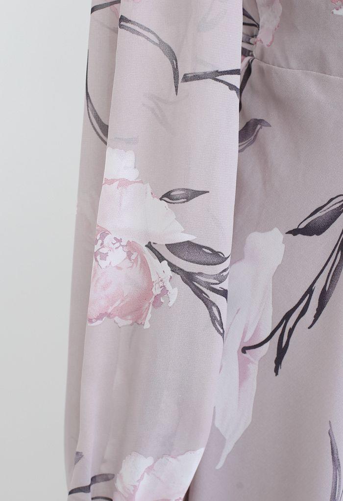 ラベンダー花柄シフォンマキシワンピース