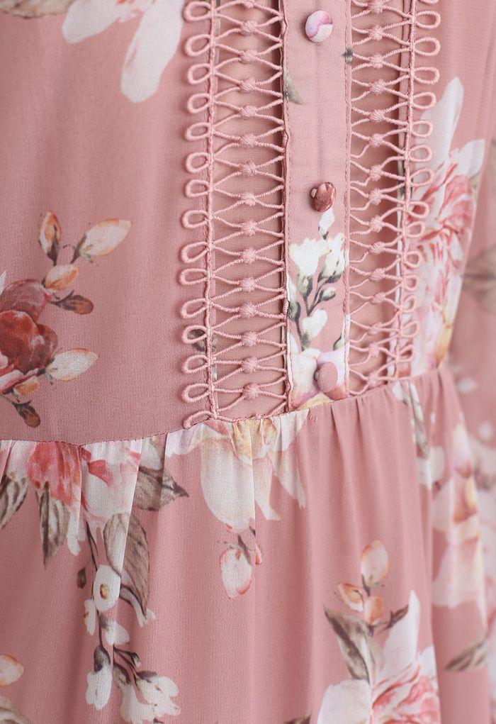 花柄クロッシェレースシフォンワンピース ピンク