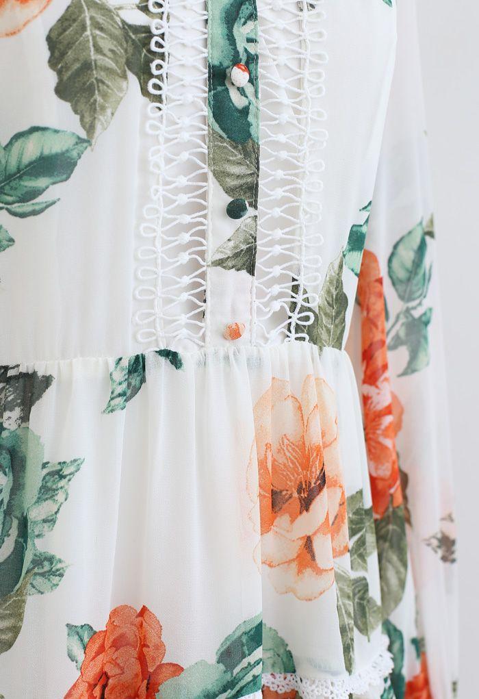 花柄クロッシェレースシフォンワンピース ホワイト