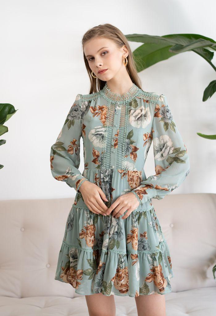 花柄クロッシェレースシフォンワンピース グリーン