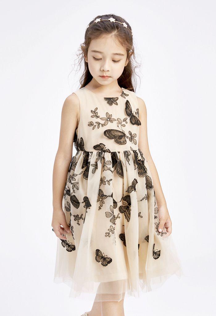 「子供服」バタフライノースリーブメッシュワンピース