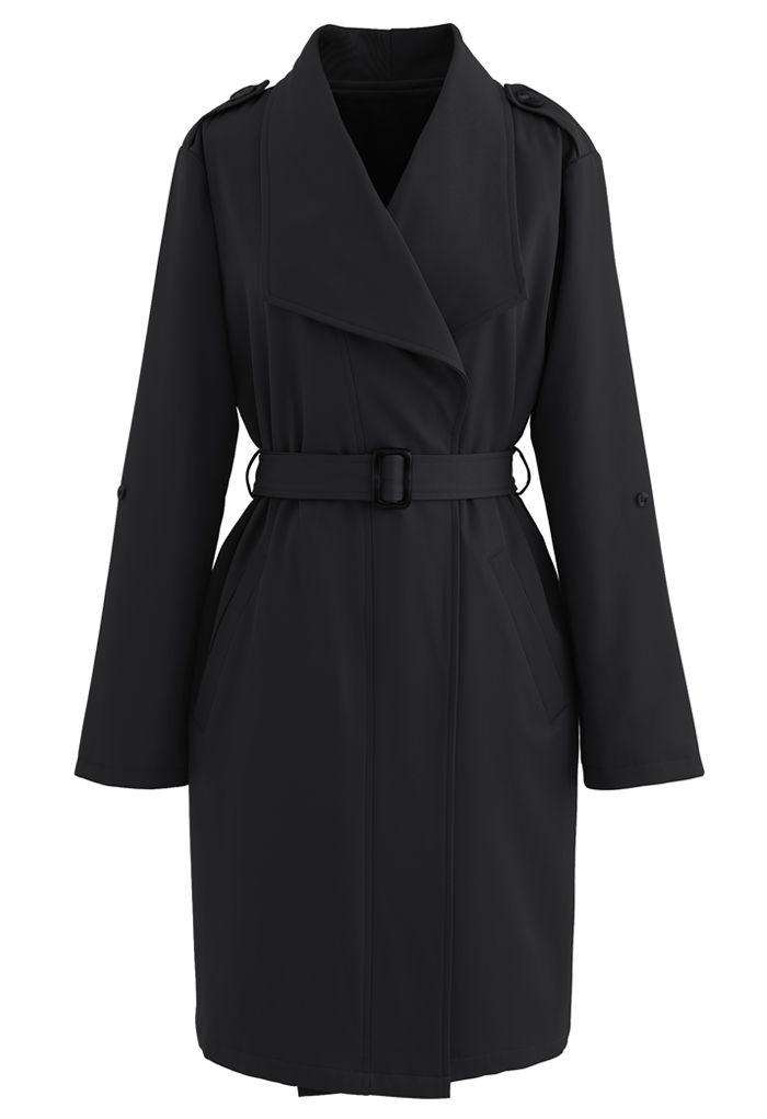 ベルト付きポケットドレープネックコート ブラック