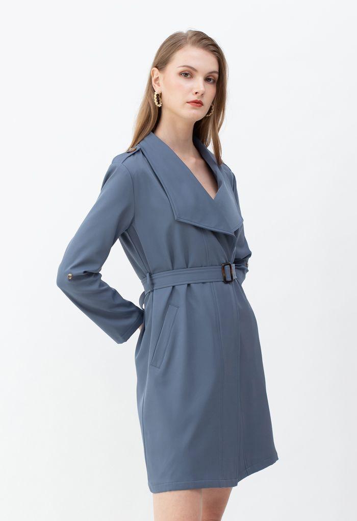 ベルト付きポケットドレープネックコート ブルー