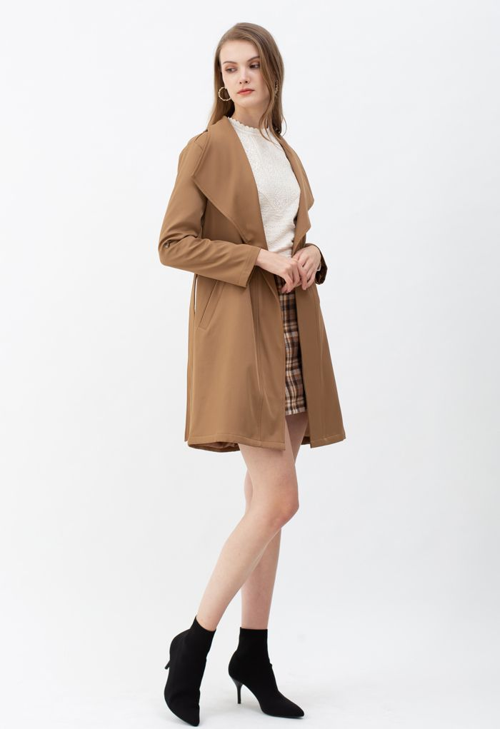 ベルト付きポケットドレープネックコート ベージュ