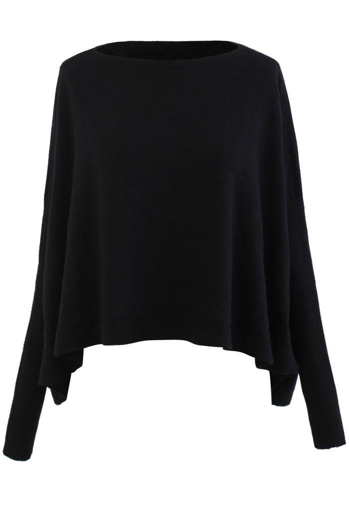 ソフトフレア裾ケープセーター ブラック