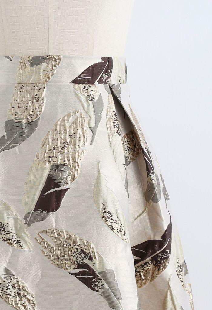 ゴールデン葉柄ジャカードスカート