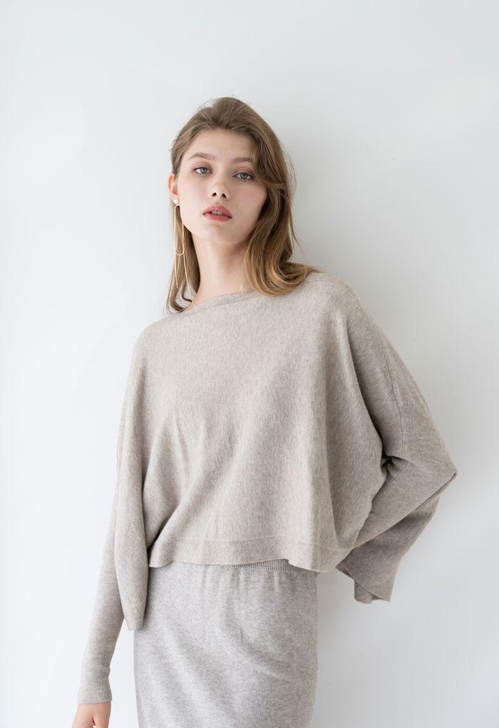 ソフトフレア裾ケープセーター サンド