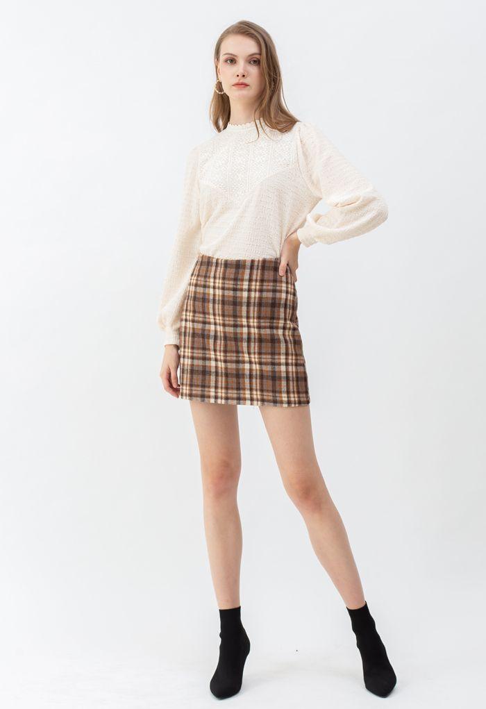 チェック柄ウール混スカート ベージュ