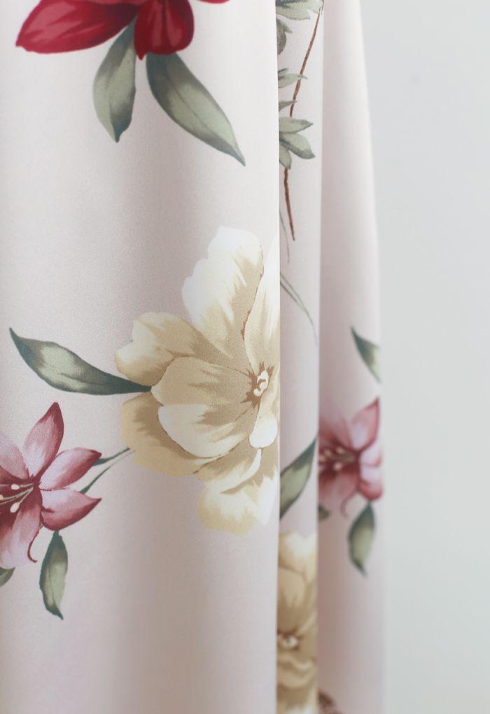 花柄ハイウエストAラインスカート