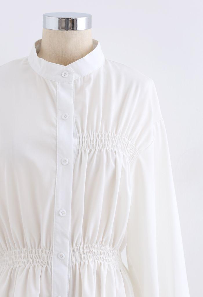 シャーリングボタンダウンシャツワンピース ホワイト