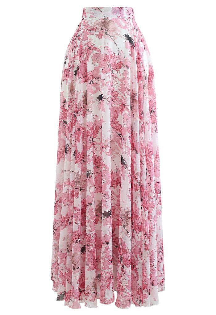 花柄シフォンマキシスカート ピンク