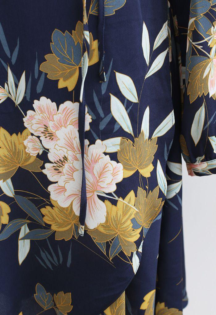 ネイビー花柄セルフタイワンピース