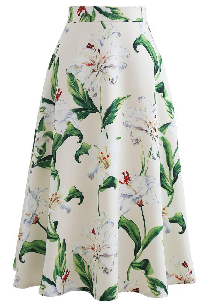 花柄Aラインスカート グリーン