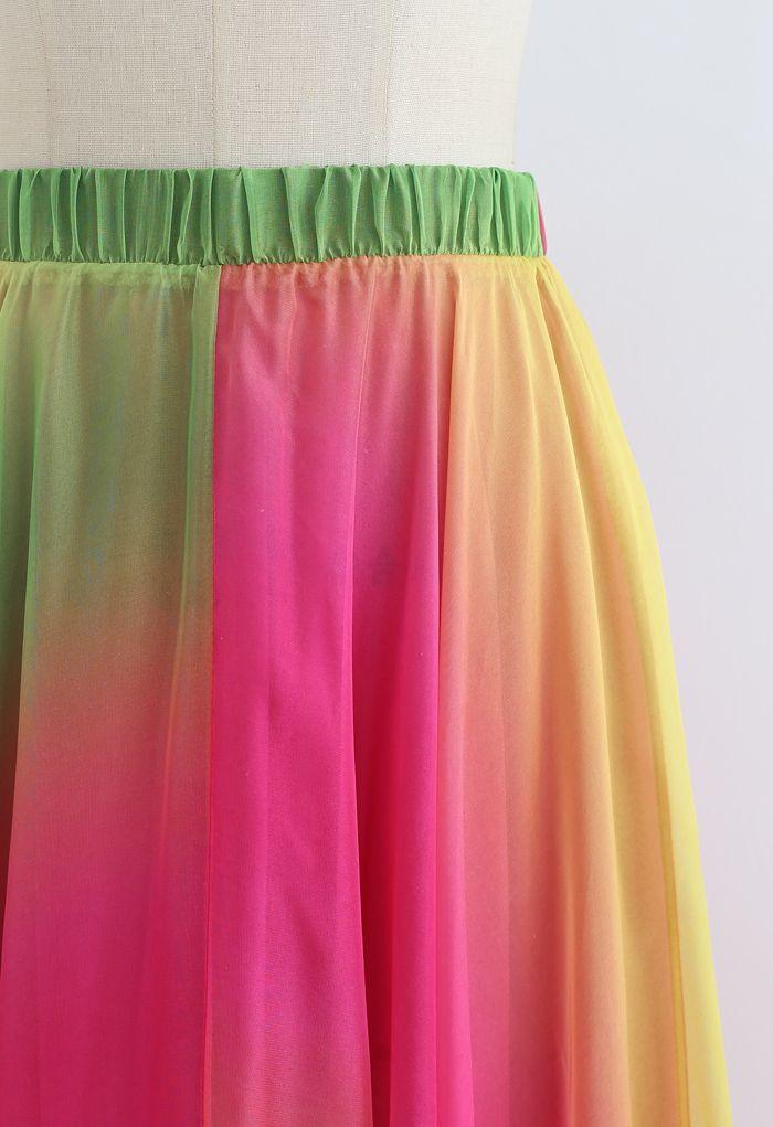 タイダイシフォンマキシスカート ピンク