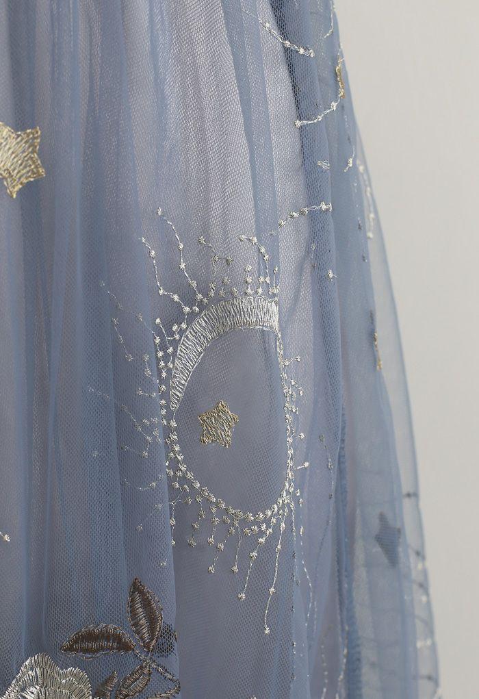 刺繍メッシュキャミワンピース