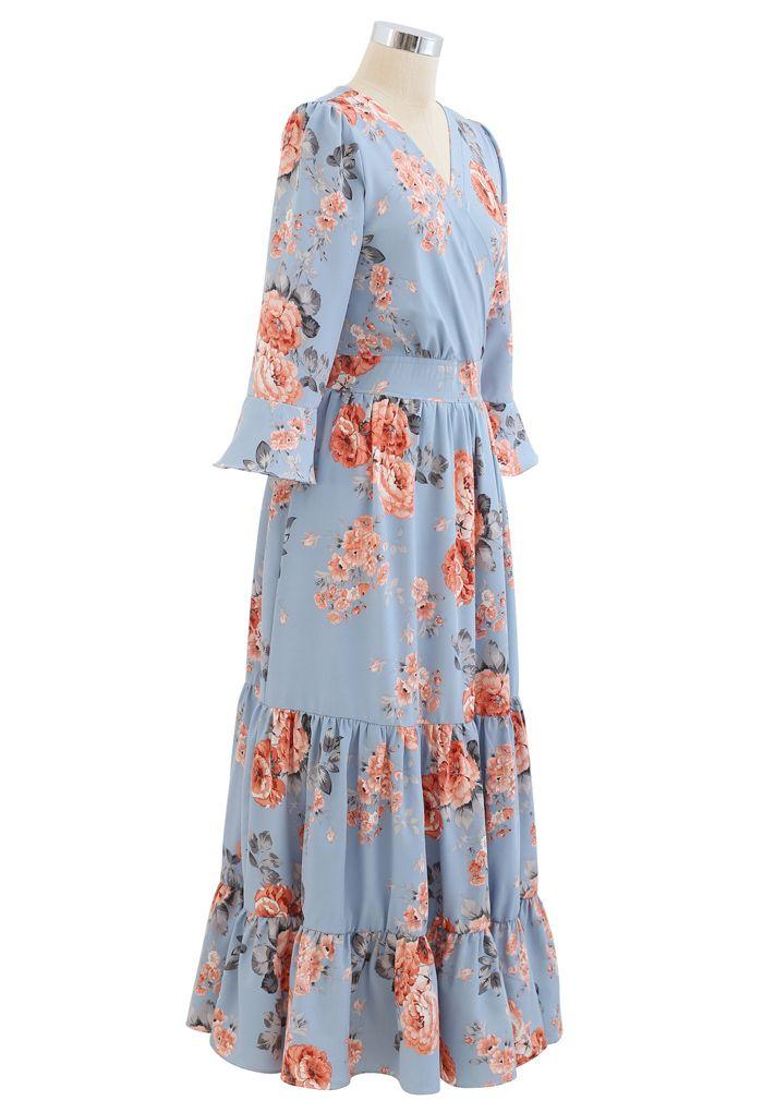 花柄ラッフルカシュクールマキシワンピース ブルー