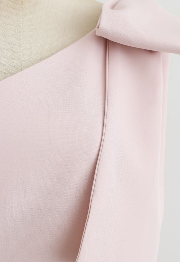 ワンショルリボンスリットワンピース ピンク
