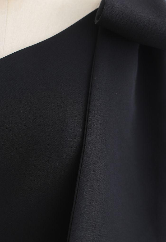 ワンショルリボンスリットワンピース ブラック