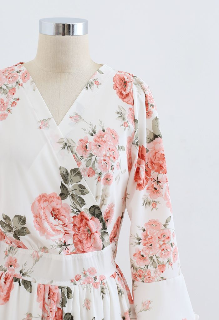 花柄ラッフルカシュクールマキシワンピース ホワイト
