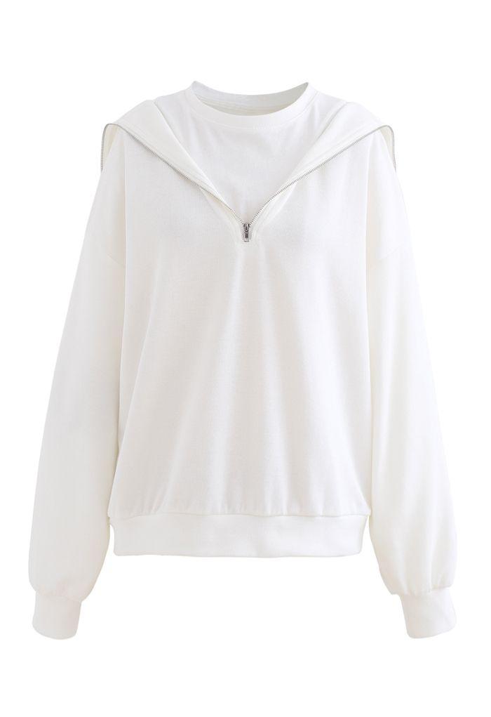レイヤード風ジップアップスウェットシャツ ホワイト