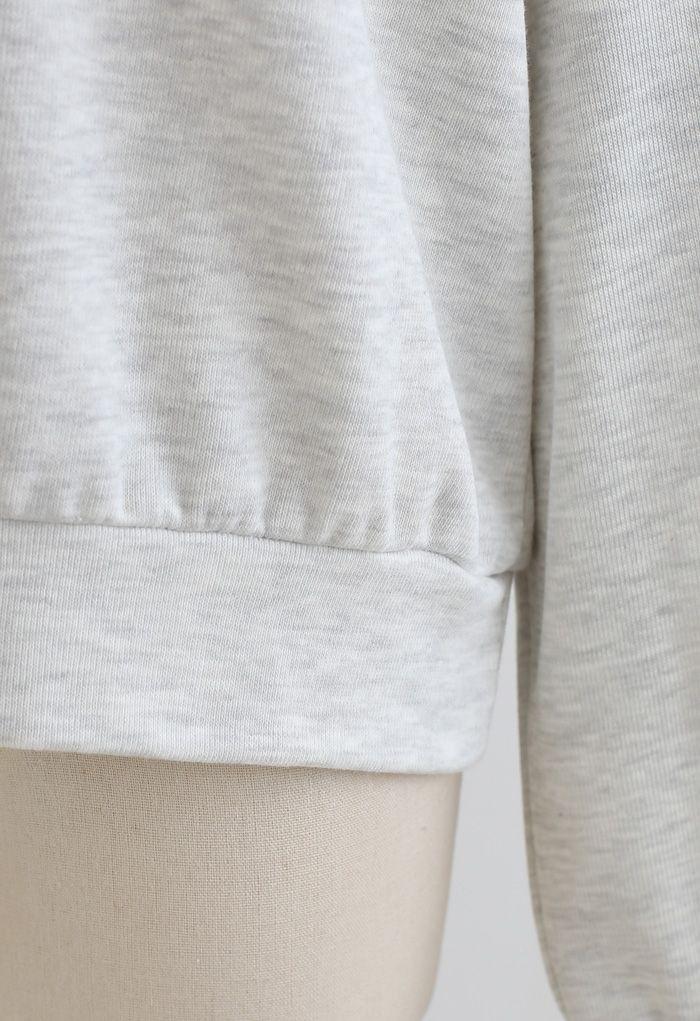 レイヤード風ジップアップスウェットシャツ ライトグレー