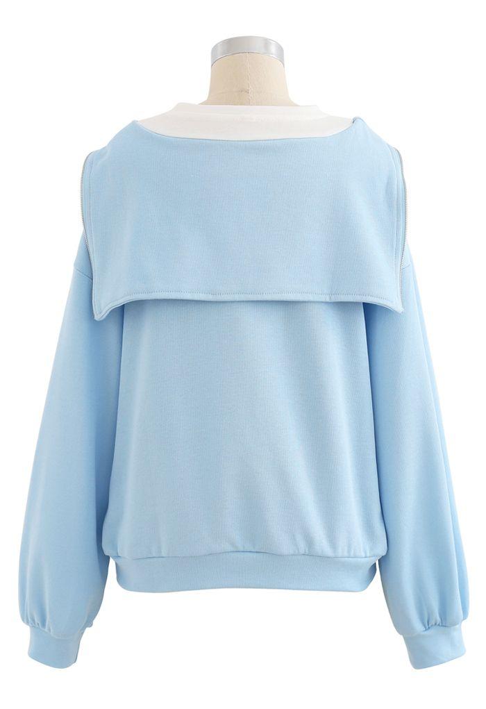 レイヤード風ジップアップスウェットシャツ ベビーブルー