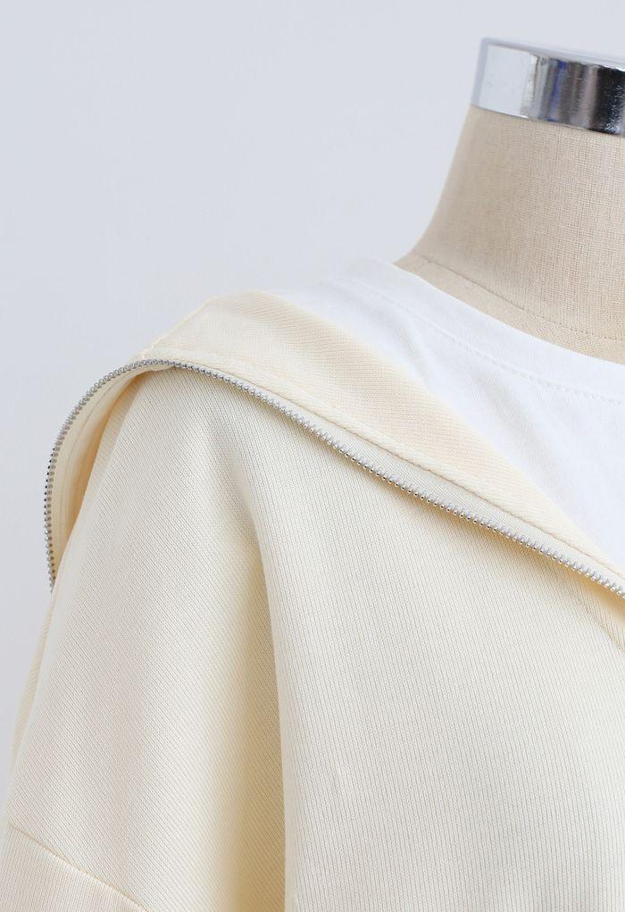レイヤード風ジップアップスウェットシャツ アイボリー