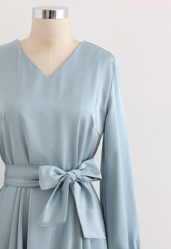 スカーフ付きVネックフレアワンピース ブルー
