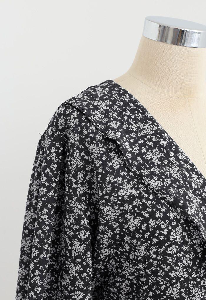 小花柄アシンメトリーカシュクールワンピース ブラック