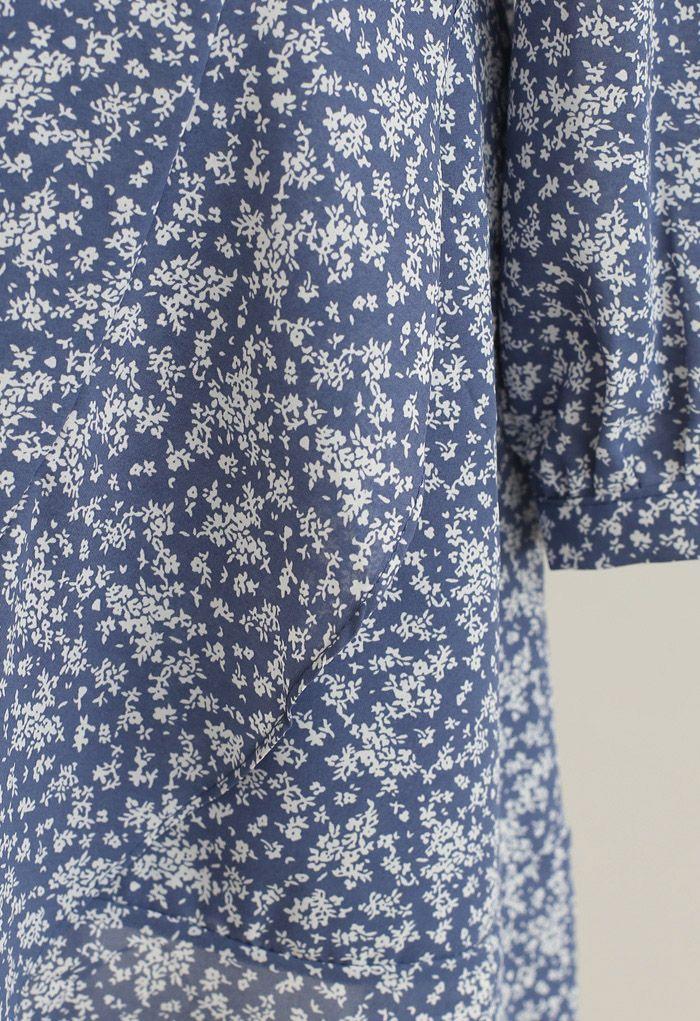小花柄アシンメトリーカシュクールワンピース ブルー