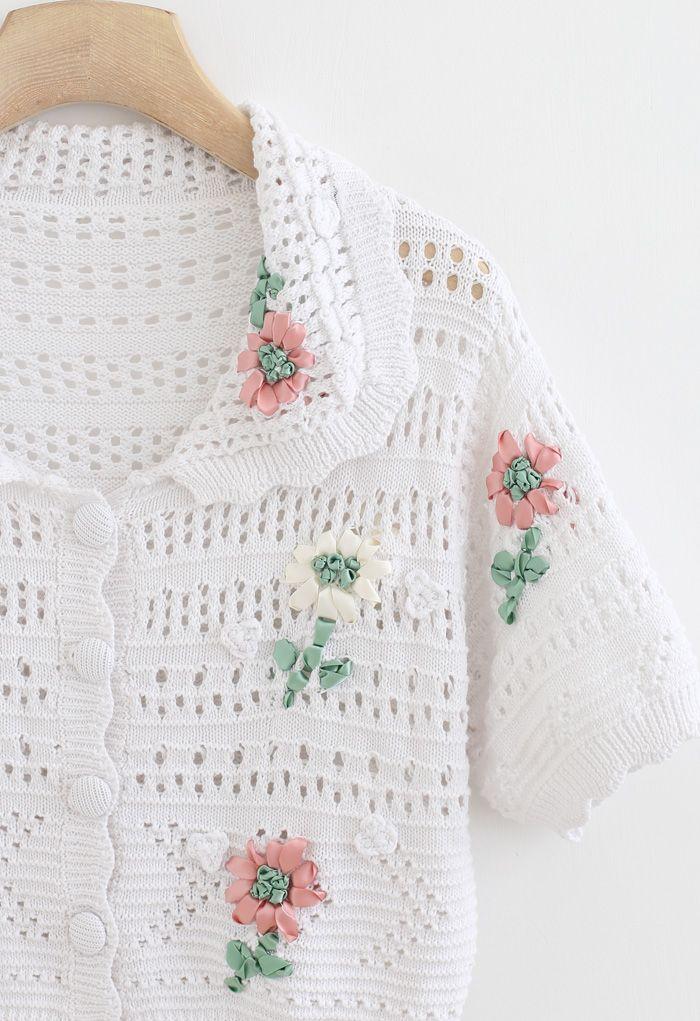 手編み風フワラーアイレットニットカーディガン ホワイト