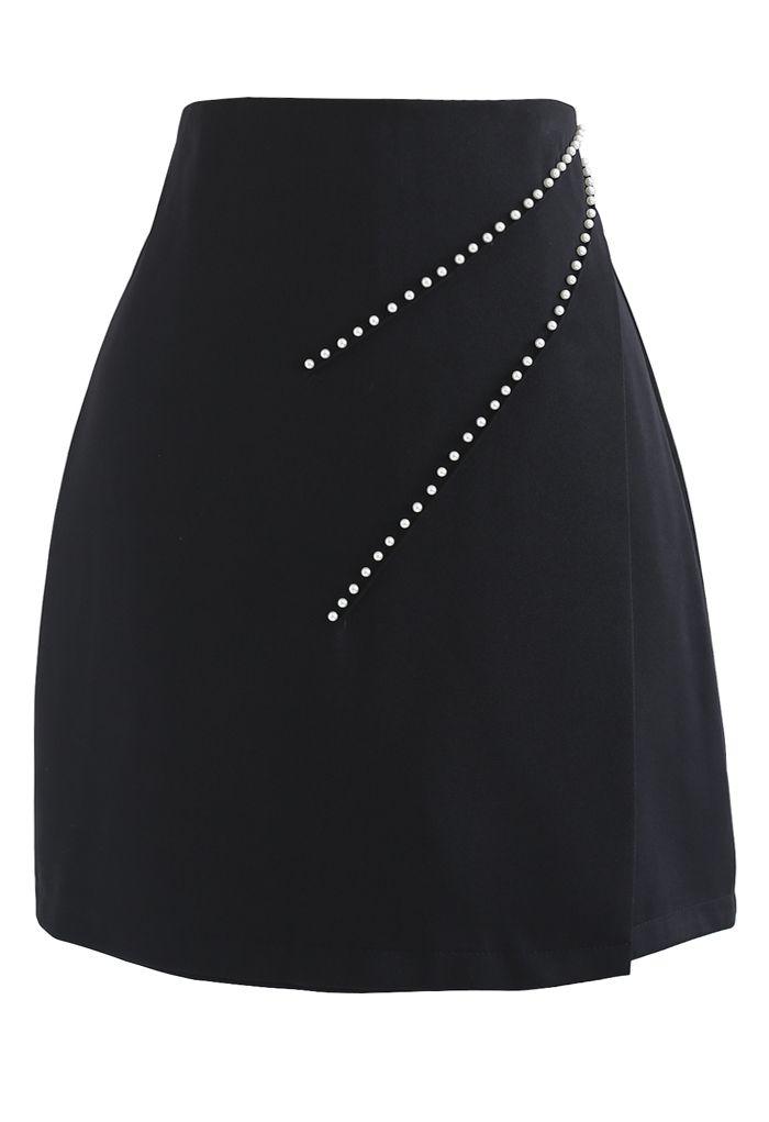 パールデコラップミニスカート ブラック