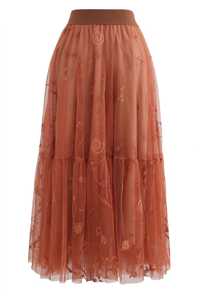 刺繍メッシュチュールスカート カラメル