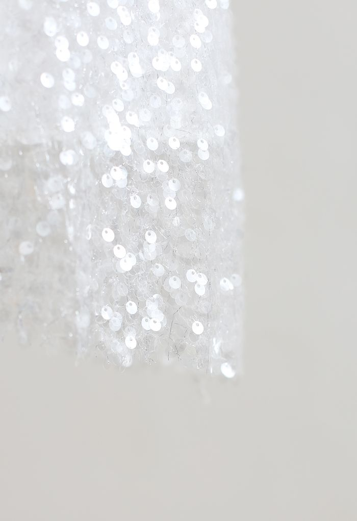 スパンコールペンシルスカート ホワイト