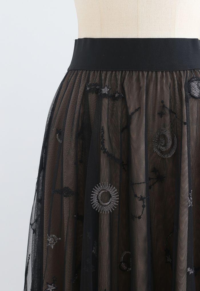 刺繍メッシュチュールスカート ブラック