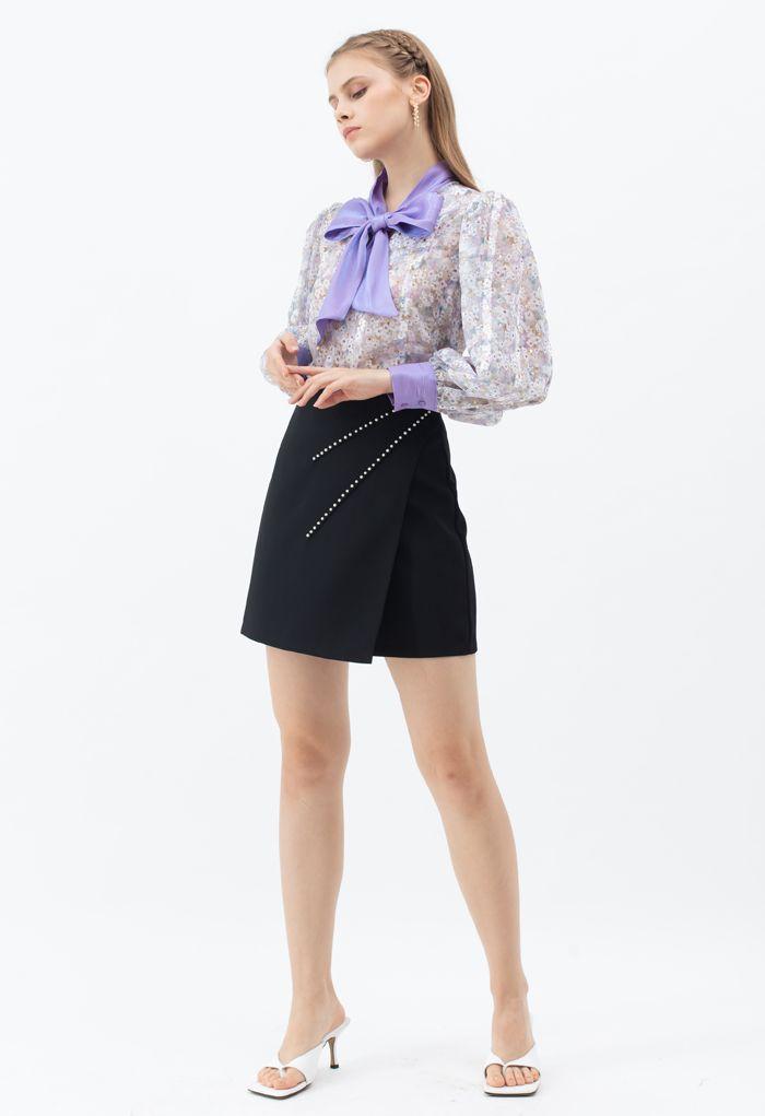 ボウタイ花柄オーガンジーシャツトップス パープル