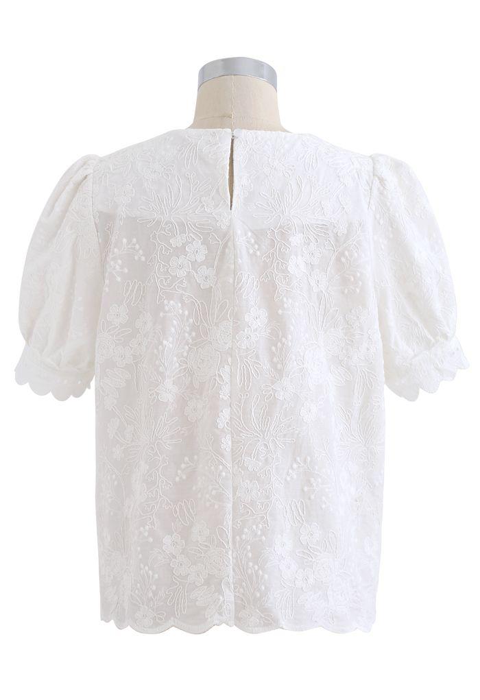 パフスリレース刺繍ブラウス ホワイト