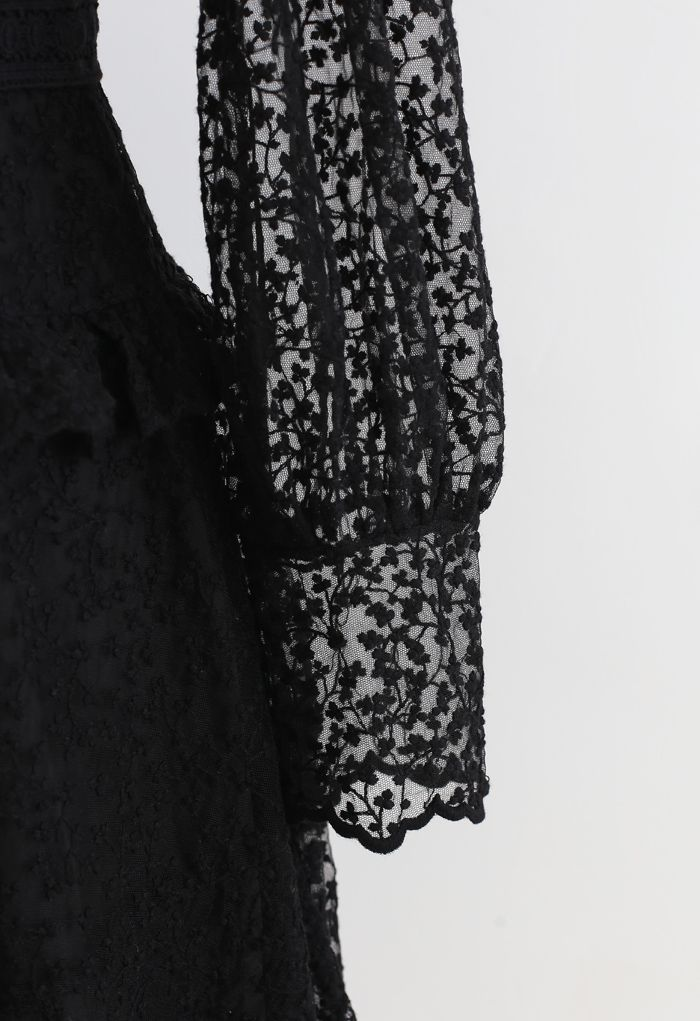 レース刺繍ラッフルメッシュワンピース ブラック