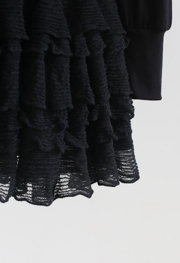 ティアードフリルカーデ×スカートセット ブラック
